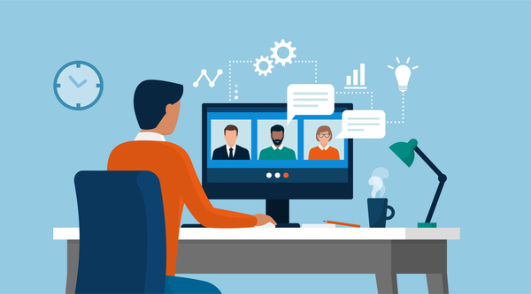 Videokonferenz Versammlung mit vielen Teilnehmern Online aus dem Home Office